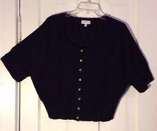Fashion Bug Cardigan Sweater Bolero/Shrug Black w/BLING Buttons Size 2X