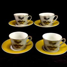Set of 4 Fornasetti Cup Saucer Teacup Set Gold Lips Art Nouveau Reproductions