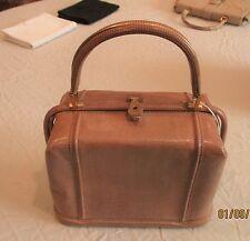 """""""Mario"""" vintage tan snakeskin handbag from 1960's. Suede interior Italy"""
