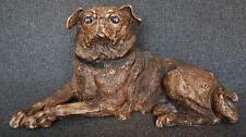 FABULOUS RARE EARLY 19TH CENTURY RECLINING TERRACOTTA PUG WITH GLASS EYES