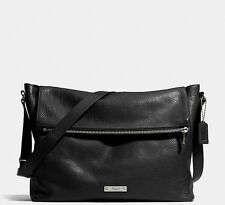 NWT COACH THOMPSON ZIP TOP MESSENGER LEATHER ANTIQUE NICKEL BLACK F71236