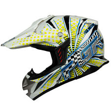 L XL XXL ~ PGR SX01 WHITE YELLOW VORTEX Motocross MX  Dirt Bike Buggy DOT Helmet