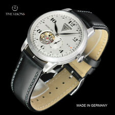 Junkers 40mm Dessau 1926 Flatline German Open Heart Automatic Leather Strap Watc