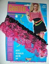 Fancy Dress Hot Pink Elastic Stockings Garter 70's 80's 90's Wedding Hen Party