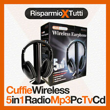 CUFFIE WIRELESS CUFFIA 5 IN 1 SENZA FILI MICROFONO RADIO WI-FI TV PC CHAT MP3