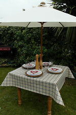 1.4x1.4m SQUARE GREY HEARTS OILCLOTH / PVC WITH PARASOL HOLE / GARDEN TABLECLOTH