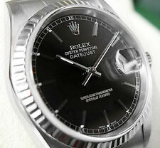MENS ROLEX DATEJUST 16234 SS/18K WHITE GOLD BLACK STICK DIAL JUBILEE 36MM