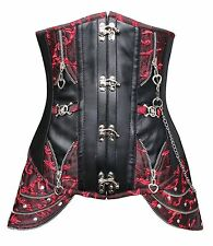 Women's Retro Brocade Steel Boned Steampunk Faux Leather Underbust Corset Top