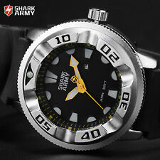 Men's Yellow Dial SHARK ARMY Silver Steel Military Silicone Sport Quartz Watch