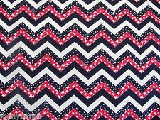 FLAG STARS & STRIPES ZIGZAG on Made In USA 100% COTTON FABRIC Priced By The Yard