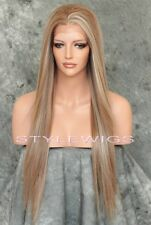 Brown/Blonde Mix Long HEAT OK Straight Lace Front Synthetic Wig SAHI 8/27/613