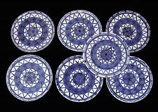 """6 Block Blue & White Handpainted Scrolls Stripes Thick Heavy 9"""" Plates Portugal"""