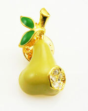 Kenneth Jay Lane Enamel & Crystal Pear Lapel Pin   1 1/8""