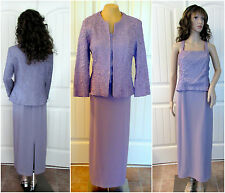 Mother of Bride Dress and Jacket Long Formal Lavender Evening Gown Wedding Sz 10