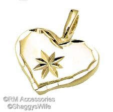 Solid Heart with Star Burst Charm Pendant EP 24k Gold Plated Lifetime Guarantee!