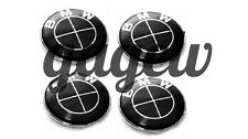 BMW 68mm FULL BLACK CENTER WHEEL HUB CAPS SET (4 PCs) EMBLEM BADGE