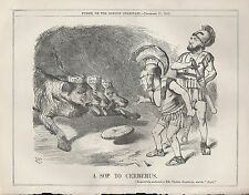 1872 Punch Cartoon Sop to Cerberus M. Thiers Presuident of France Dissolution
