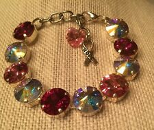 Swarovski Crystal Elements Breast Cancer Pink Bracelet 12mm Silver Cup Chain