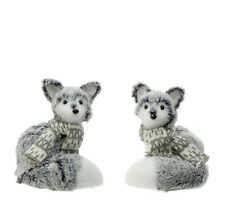 "3600460 RAZ 5"" Grey White Fox w/Scarf Set/2 Christmas Table Decoration Figure"
