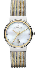 Skagen Women's Ancher Two-Toned Striped Steel Mesh Watch 355SSGS