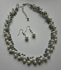 Pearl Crystal glass Bead NECKLACE VINTAGE style SILVER WHITE  glass 16""