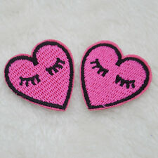 2Pcs Heart Embroidery Iron on Patches Sew Applique Embroidered DIY Motif