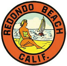 Redondo Beach, CA   Vintage- 1950's Style Travel Decal