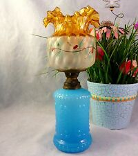 Blue Opaline Glass Miniature Oil Lamp