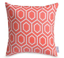 WATERPROOF OUTDOOR Cushion Cover Coral /Pink /Peach Geometric Patio Throw Pillow