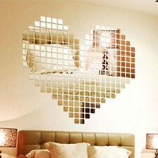 100pcs Silver Acrylic Mural Wall Sticker Mirror Effect Sofa Room Decor