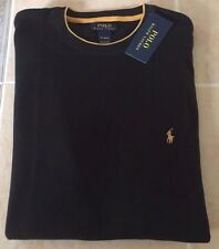 Polo Ralph Lauren Thermal Cotton Long Sleeve T-Shirt Mens Large Black Gold Pony