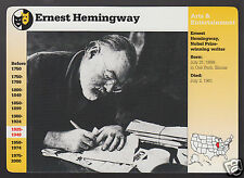 ERNEST HEMINGWAY Author Photo Bio 1994 GROLIER STORY OF AMERICA CARD