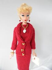 Handmade Barbie Clothes 60s Style Cherry Red Knit Dress Set for Vintage Barbie