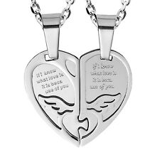2pcs His & Hers Angel Wings Heart Couples Pendant Necklace Set (Silver Tone)