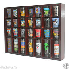 28 Shot Glass Display Case  Rack Wall Shelves Shadow Box, Solid Wood, SC11C-MA