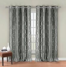 "Two Silver Gray Faux Silk Grommet Window Curtain Panels: Metallic Print, 76""x84"""