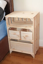 Bedside Cabinet  Solid Pine Wood Apple Crate Vintage Style