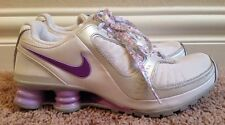NIKE SHOX TURBO 10 RUNNING SHOES, YOUTH GIRLS SIZE 5.5 WHITE PURPLE SILVER EUC!!