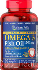 Puritan's Pride Double Strength Omega-3 Fish Oil 1200 mg Contain 600 mg EPA DHA