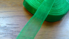 Job Lot Wholesale 50 Yards Green Organza Ribbon  10mm