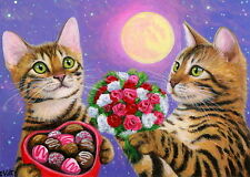 ACEO original Bengal cat Valentine flowers chocolate moon romance painting art