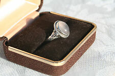 Sterling Silver Grey Moonstone Cabochon Scroll Work Solitaire Ring