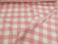 4 Metres White & Light Pink Checked 100% Brushed Cotton Flannel Fabric.