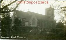 REAL PHOTO POSTCARD SAINT JAMES'S CHURCH, ALVESTON, NEAR STRATFORD, WARWICKSHIRE