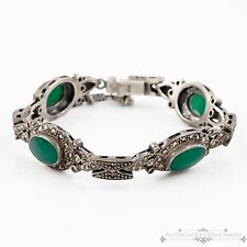 Antique Vintage Deco Sterling Silver Green Onyx & Marcasite Studded Bracelet!