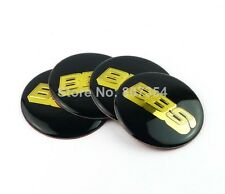 4x Sticker BBS Black Gold Logo Wheel Center Hub Caps Badge 70 MM High Quality