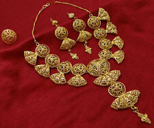 18K Goldplated 3PC Women Party Necklace Set Indian Ethnic Bollywood Jewelry