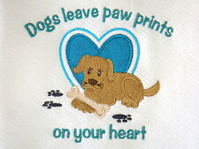 Dogs Leave Paw Prints On Your Heart Embroidered Kitchen Towel