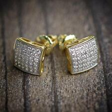 Mens Iced Out Small Screw Back Hip Hop Gold Stud Earrings
