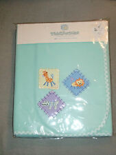 TIDDLIWINKS SAFARI JUNGLE ZOO FLEECE BABY BLANKET AQUA TEAL BLUE GREEN LION NEW